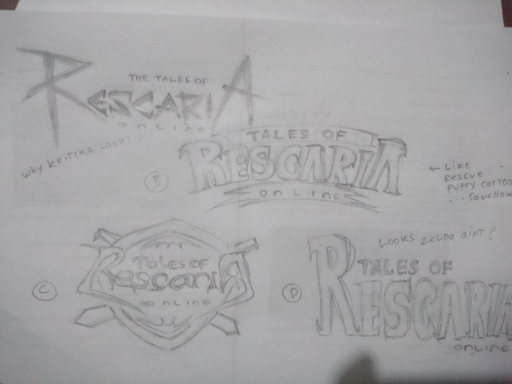 sketches of the logo for Tales of Rescaria Online